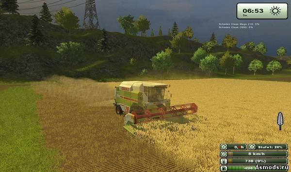 Скачать Claas Mega 218 для Farming Simulator 2013