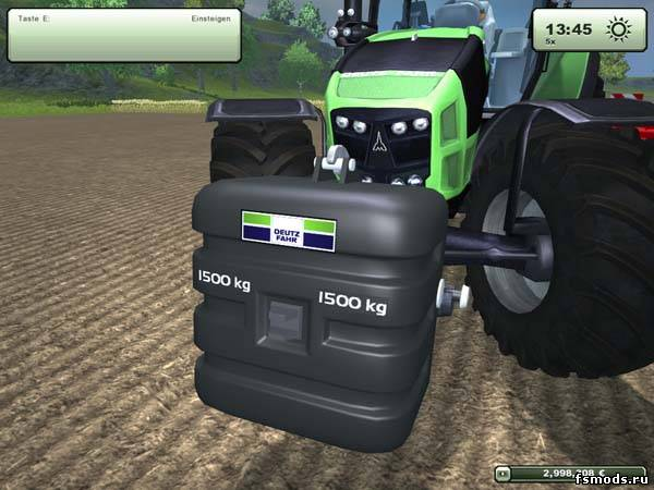 Deutz Fahr weight для Farming Simulator 2013